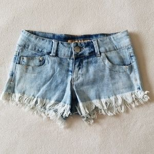 Pants - Distressed Cut Off Denim Shorts